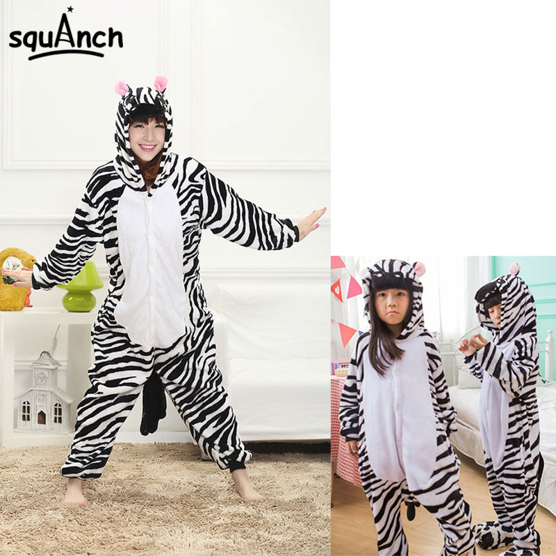 Cute Zebra Kigurumi Cartoon Animal Onesie Adult Kids Winter Flannel Pajama Carnival Halloween Party Hooded Overall Warm Jumpsuit