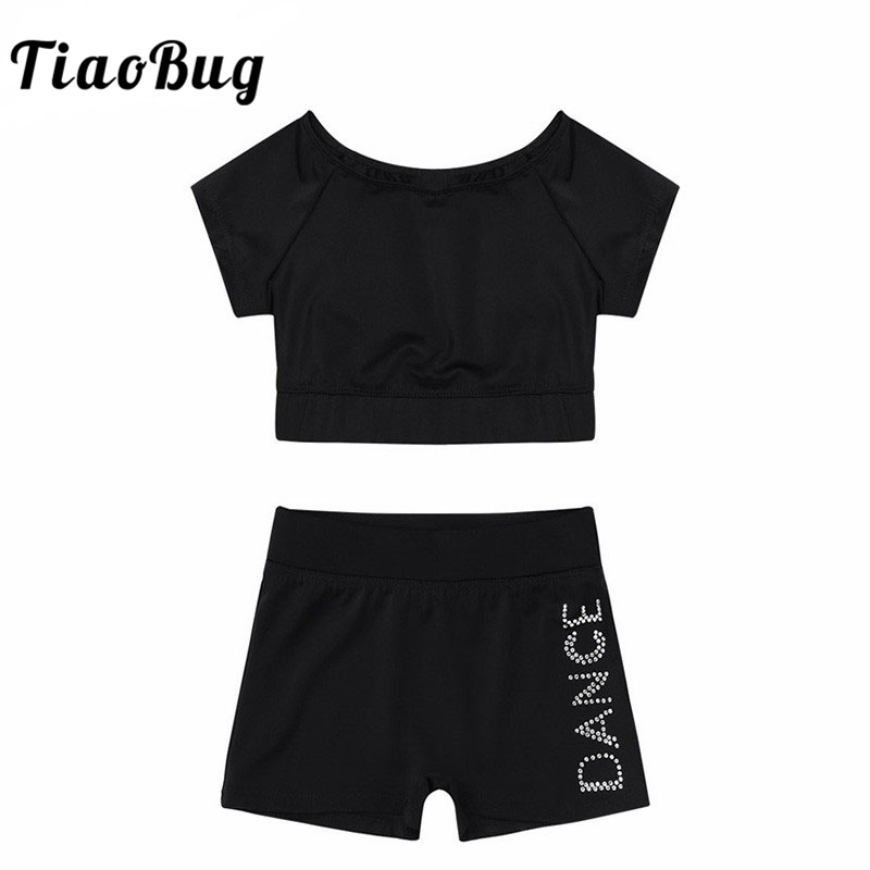TiaoBug Girls Black Short Sleeve Tankini Crop Top Shorts Set Child Ballet Dance Sports Workout Gymnastics Suits Kids Dance Wear