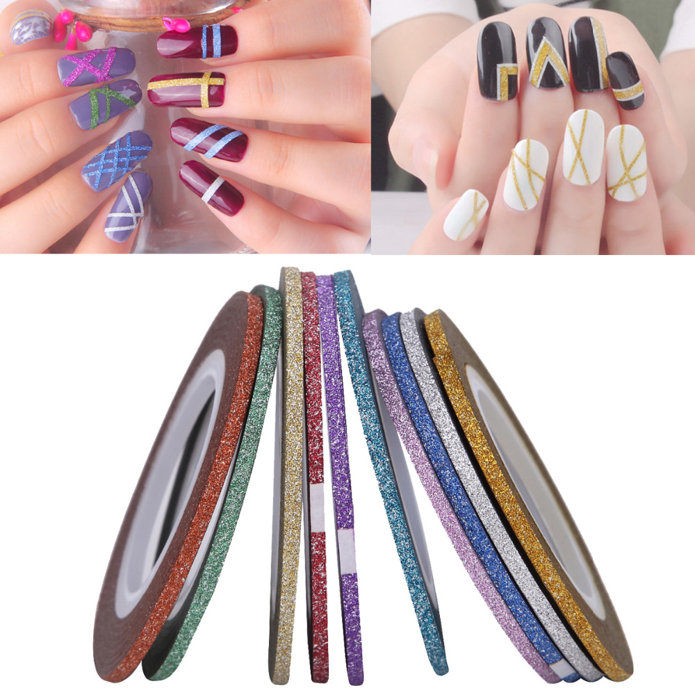 10 Rolls Colorful Laser Glitter Scrub Nail Art Striping Tape Line Sticker Gel Polish Tip 3D DIY Self-Adhesive Decorations Decal 14 rolls glitter scrub nail art striping tape line sticker tips diy mixed colors self adhesive decal tools manicure 1mm 2mm 3mm
