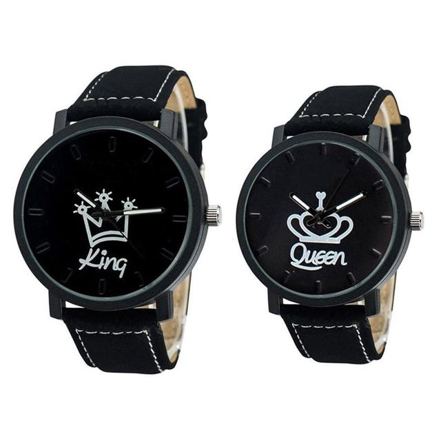 Newest Couple Queen King Crown Fuax Leather Quartz Analog Wrist Watch Chronograp