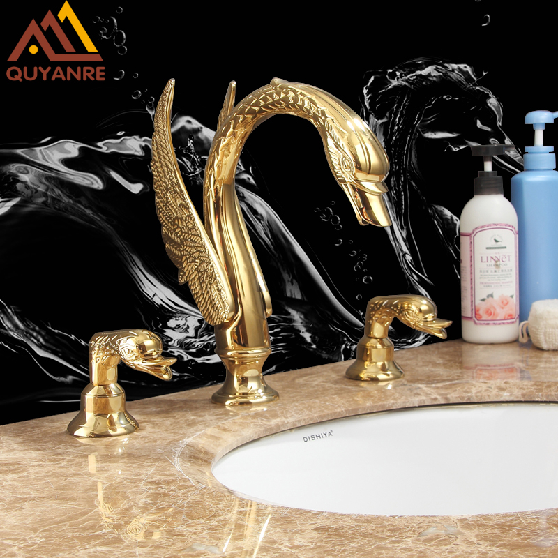 Quyanre Luxury Golden Swan Basin Faucets Dual Handles Mixer Tap Sink Faucets Bathroom Faucet Deck Mounted torneiras Torneira цена