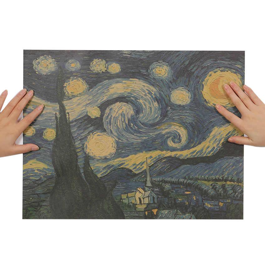 التعادل لير الانطباعية تحفة اللوحة السماء المرصعة بالنجوم المشارك ورقة الزينة الجدار ملصق ورقة كرافت