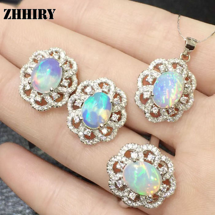 Natural Fire Opal Gem Jewelry Sets Genuine Stone Sets Solid 925 Sterling Silver Precious Stone Woman