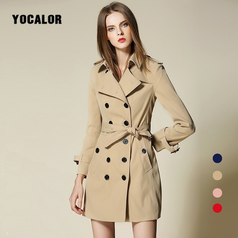 Здесь продается  Luxury High Quality Imitation Spring Autumn Long Trench Coat Windbreaker Female Overcoat Outerwear Manteau Burdarry Sashes Loose  Одежда и аксессуары
