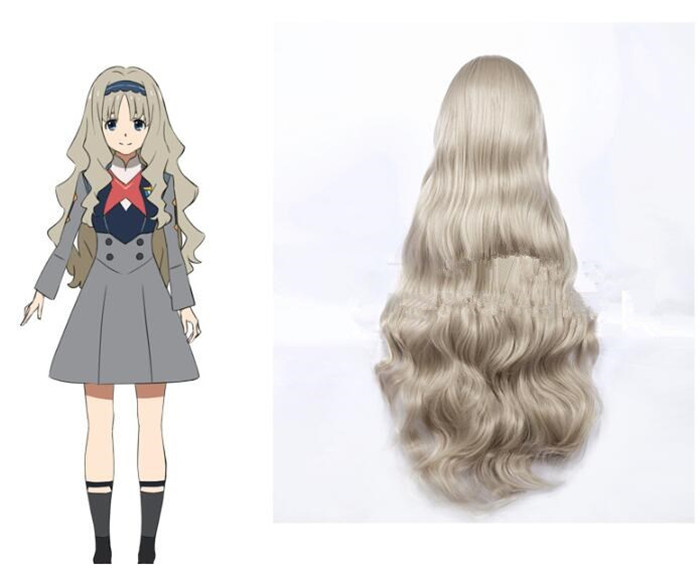 DARLING in the FRANXX Code 556 KOKORO Cosplay Wig Long Wavy Curly Synthetic Hair cosplay wig A573