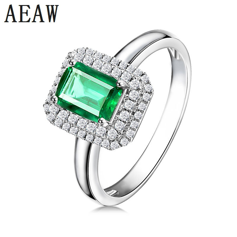 3.0CT Lab Created Emerald Engagement Ring Solitaire With White Moissanite Prong Setting Solid 14K White Gold Fine Jewelry 3.0CT Lab Created Emerald Engagement Ring Solitaire With White Moissanite Prong Setting Solid 14K White Gold Fine Jewelry