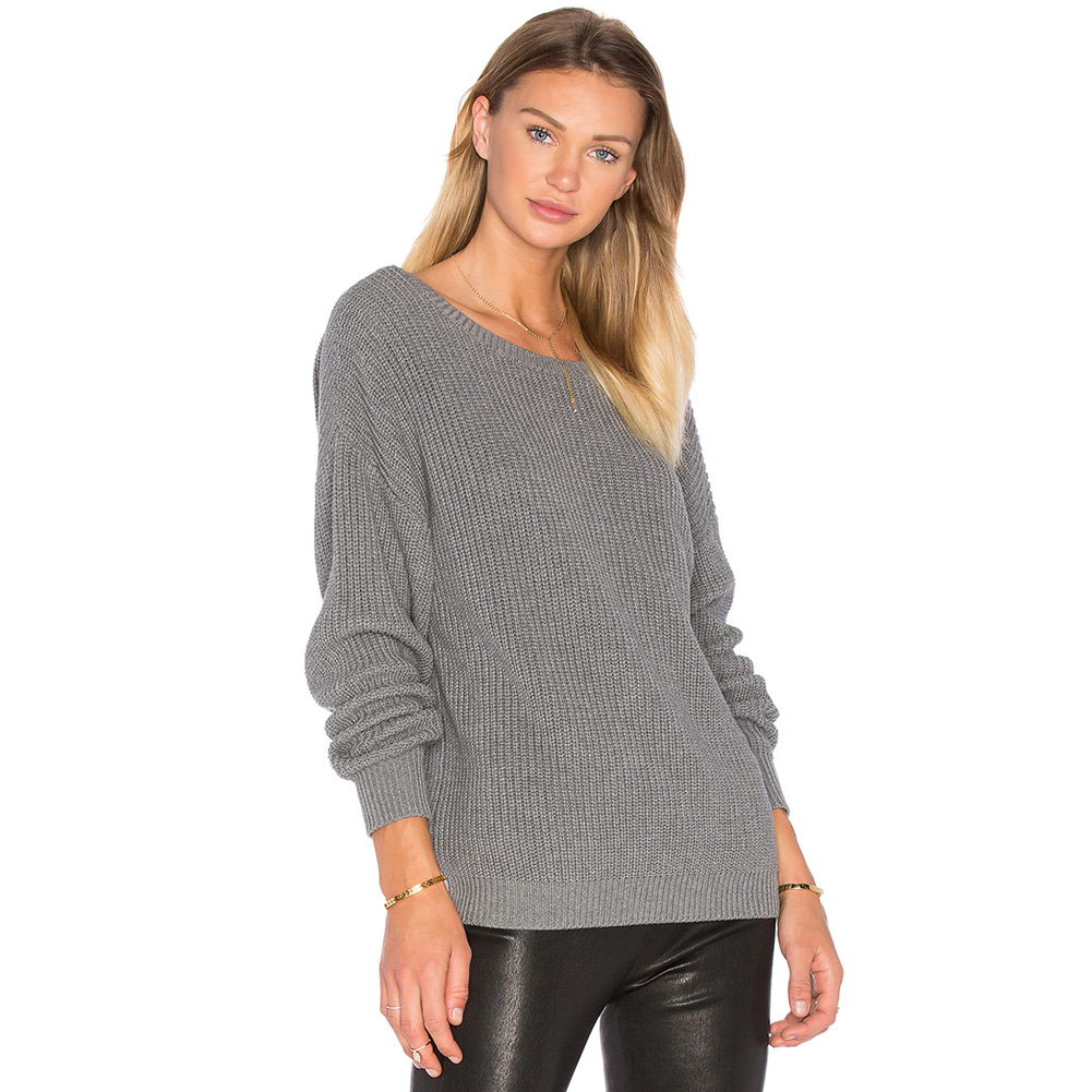 e7ab4c9259c89b Fashion Autumn Backless Knitted Sweater Women Winter Oversized Sweaters And Pullover  Knitwear Loose Jumper Black/Grey Pull Femme-in Pullovers from Women's ...
