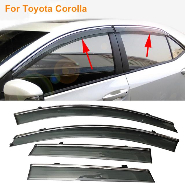 Coche Stylingg Toldos Refugios 4 unids/lote Viseras Ventana Para Toyota Corolla 2007-2017 Sol protección contra la Lluvia Cubre Las Pegatinas