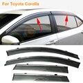 Stylingg Toldos Abrigos 4 pçs/lote Viseiras Da Janela do carro Para Toyota Corolla 2007-2017 Sol Chuva Escudo Adesivos Covers