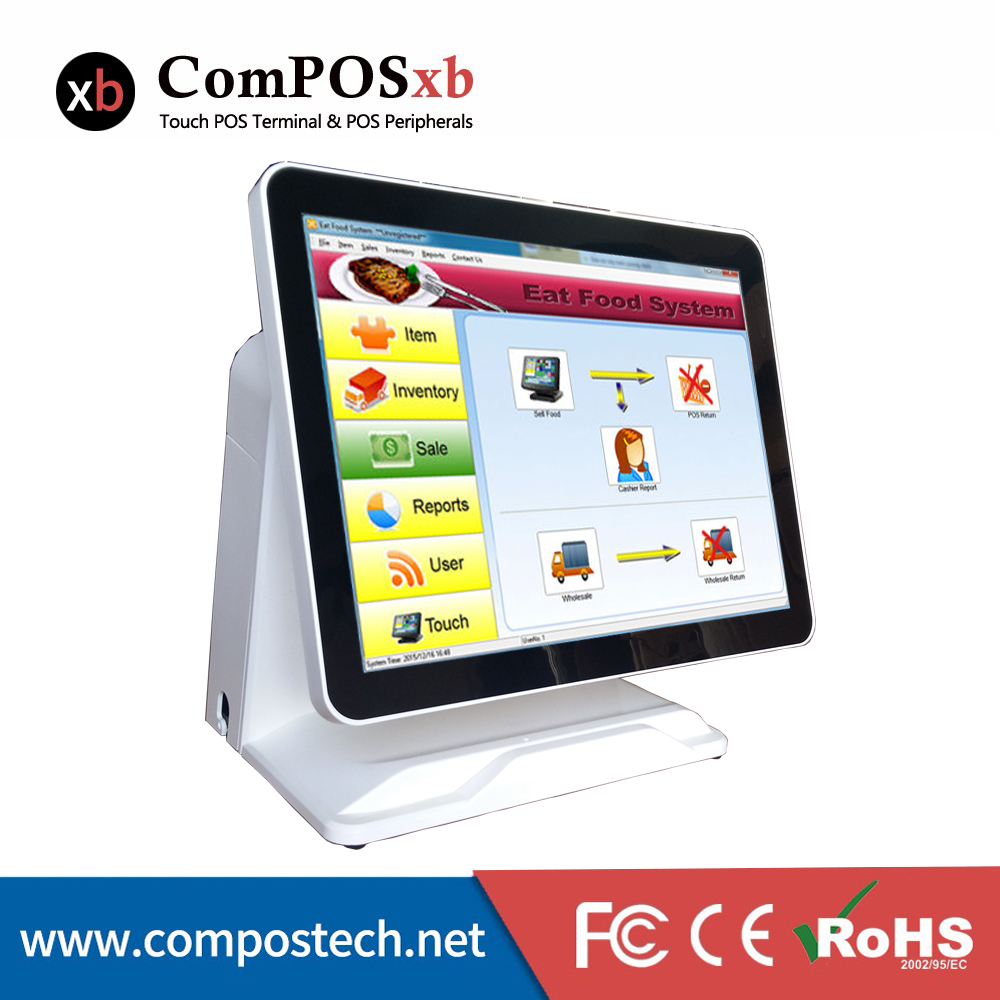 где купить Pure Screen 15 Inch All In One Pos Computer Touch Screen All In One Pos Pc Point Of Sale Pos System Cash Register Machine 2PCS дешево