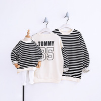 Parents and Children Clothes Autumn Loose Stripes Kids Protective Garrison Mom Dad Baby Fashion Clothes Family Matching Outfits