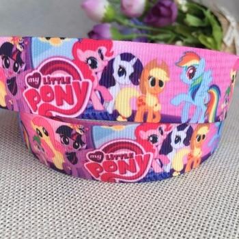 "1 ""25MM Kawaii  My Little Pony Cartoon Character printed Grosgrain Ribbon party decoration satin ribbons 5 yards 9855"