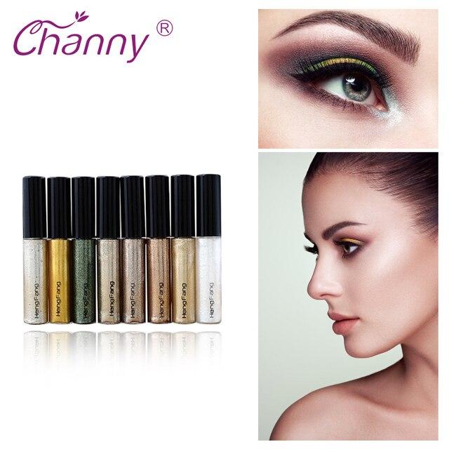 Delineador de ojos brillo Channy Shimmer para mujer maquillaje pigmento impermeable rojo blanco oro delineador de ojos brillo maquillaje