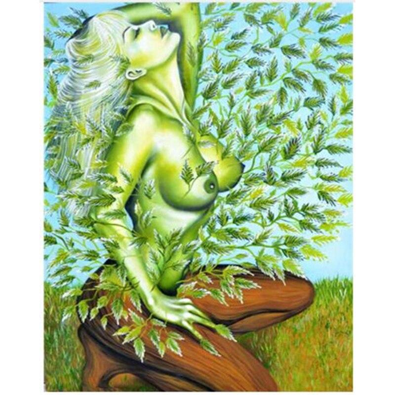 Вышивка девушка-дерево
