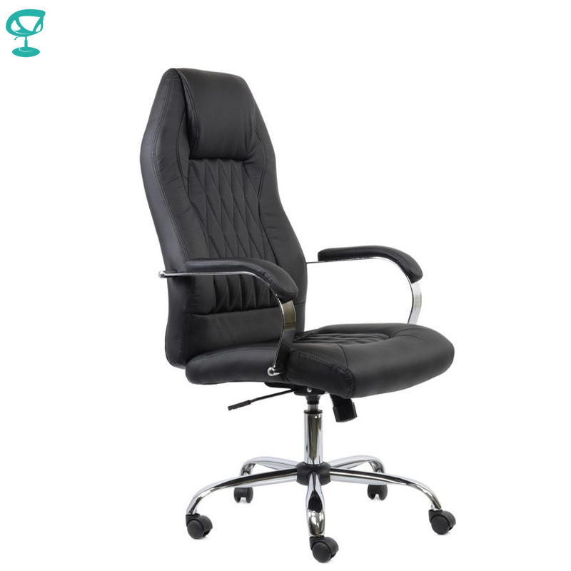 95156 Black Office Chair Barneo K-69 Eco-leather High Back Chrome Armrests With Leather Straps Free Shipping In Russia