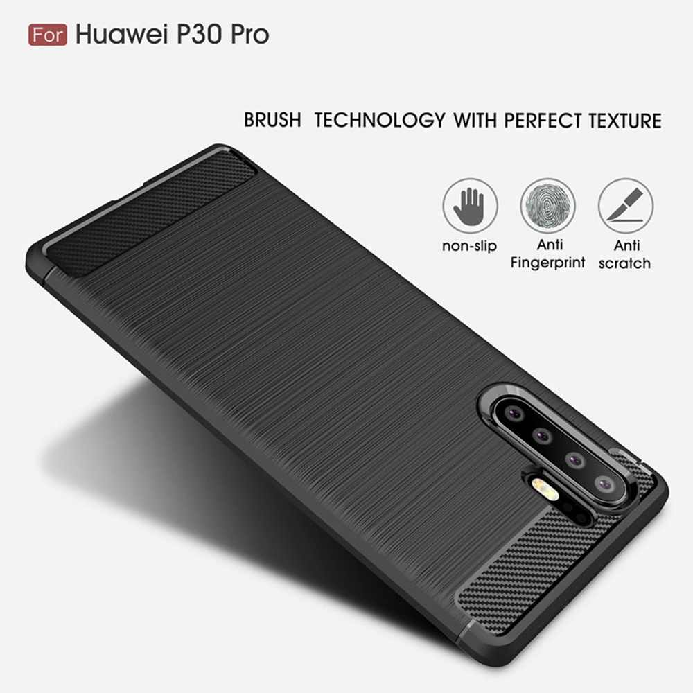Phone Cases For Huawei Y6 2019 Case Silicone Luxury Carbon Fiber TPU Coque For Hauwei P30 Pro Lite Y9 Y7 Pro Case For Honor 10i