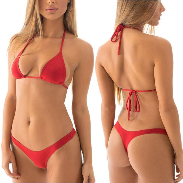34a97824dcb T Back Thong Bikini Set High Cut U Shape Low Rising Bikinis Bottom Triangle  Top Swimwear Female Sexy Swimsuit Women Bathing Suit