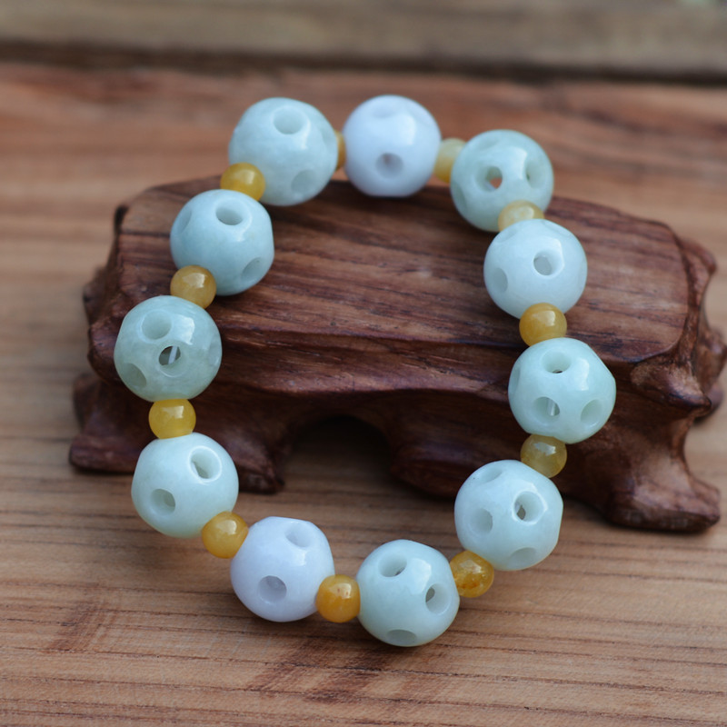 certificate Natural A level Jadeite Jade Bracelet Hollow out Round Beads Bracelet Hand String Bangle Gift For Women Jade Jewelry