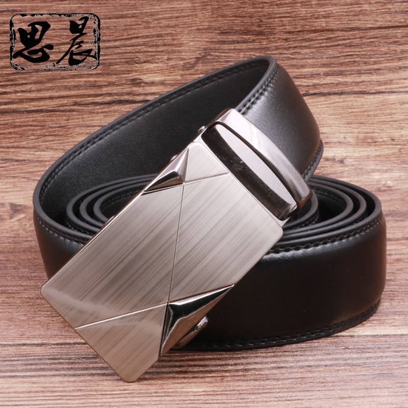 New Arrival Fashion Mens Luxury Automatic Buckle Belts White Solid Strap Male Genuine Leather Jeans Cinturones Hombre Casual