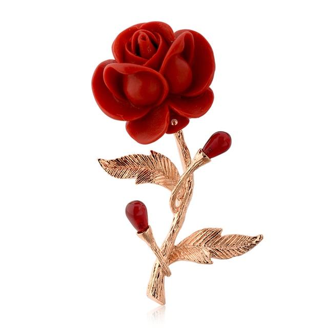 Plástico brillante rosa roja flor broche oro color hojas con ...