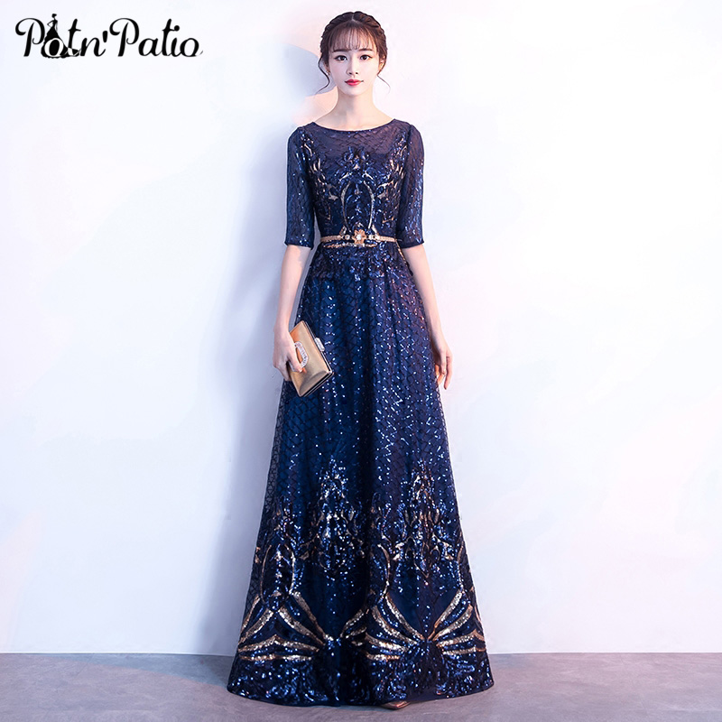 Navy Blue Long Evening Dresses 2018 With Sleeves Elegant O-neck A-line Floor-Length Sequined Mother Of The Bride Dresses