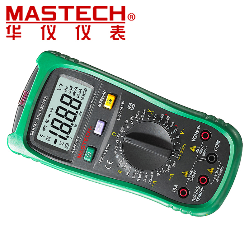MASTECH MS8260C DMM HZ Temperature Meter Tester Capacitor w/hFE Test Multimetro LCD Backlight tester Digital Multimeter mastech ms8260f 4000 counts auto range megohmmeter dmm frequency capacitor w ncv