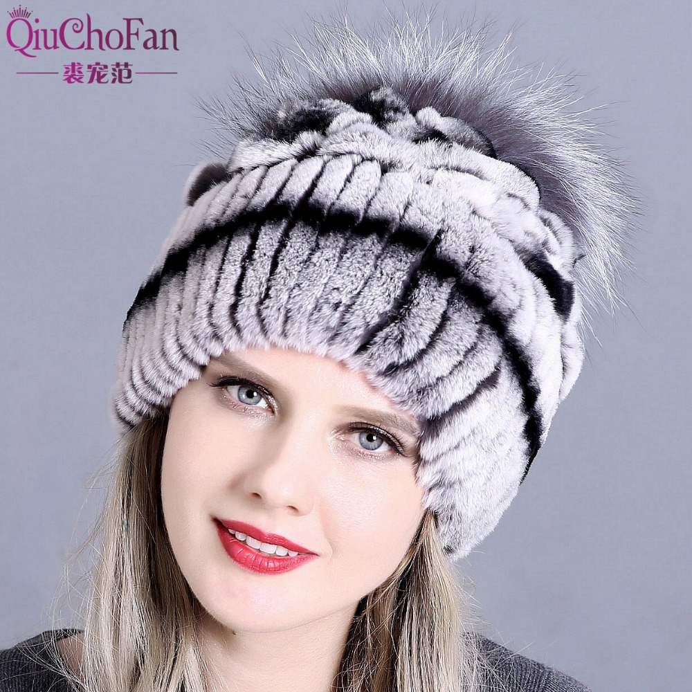 9eb4334e3 Raglaido Fur Hats for Women Winter Real Rex Rabbit Hat floral ...