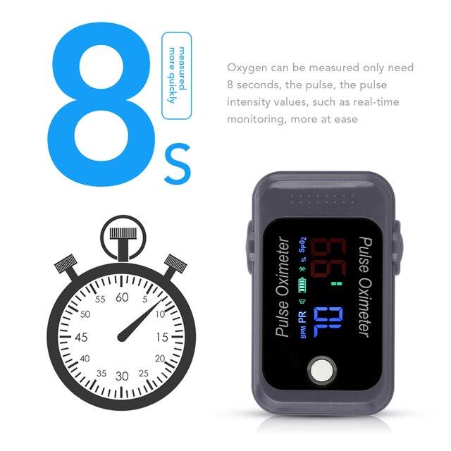 OLIECO Bluetooth Fingertip Pulse Oximeter OLED Blood Oxygen Saturation Meter SPO2 PR Oximetro de dedo Family Health Care Tool 2