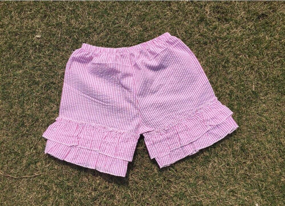 girls seersucker double ruffle shorts wholesale