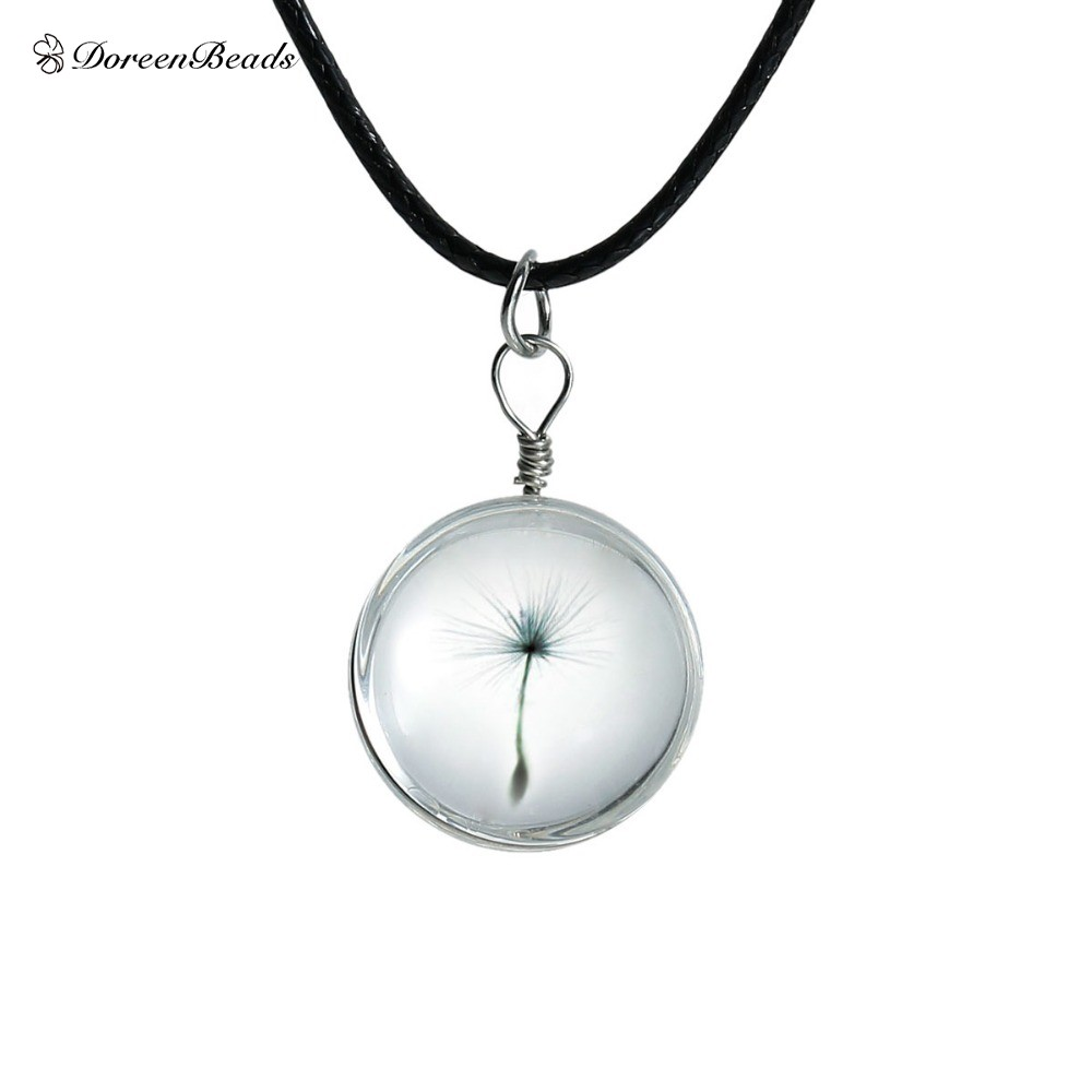 DoreenBeads Hot Real Dandelion Jewelry Crystal Glass Ball Dandelion Necklace Long Strip Leather Chain Pendant Colares Women