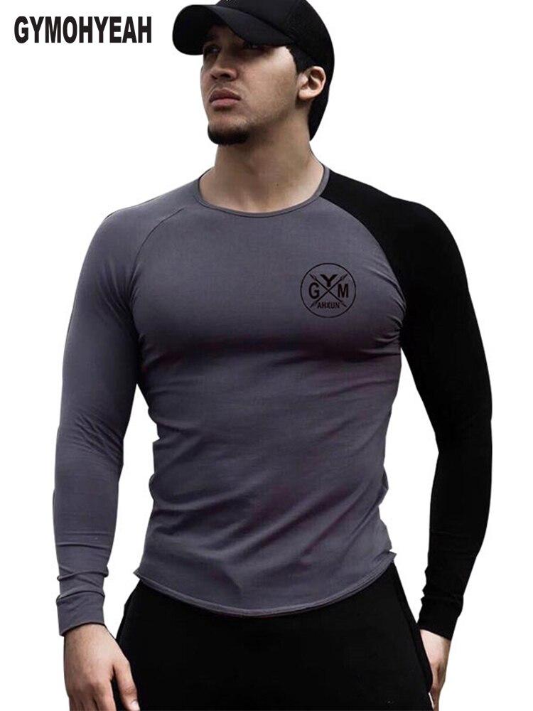 b0596619b44d GYMOHYEAH NEUE Männer mode t hemd Frühling sommer Dünne hemden männlichen  Tops Freizeit Bodybuilding Langarm persönlichkeit