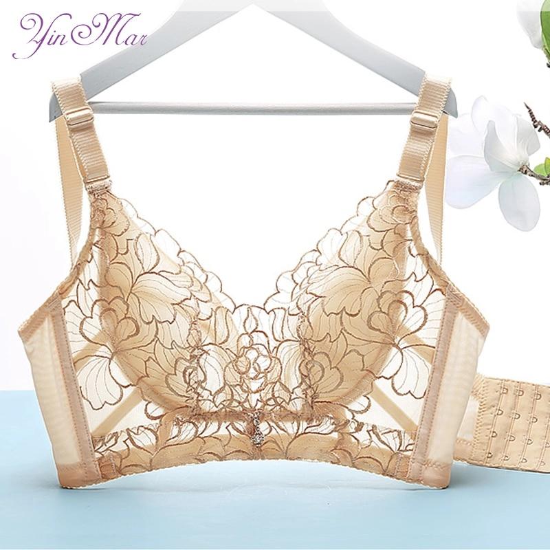 YinMar 2018 New Bra Women Sexy Embroidery 95 BCDEF Ultra-thin Cup Wire Free Bra Brassiere Push Up Underwear Bra Brasier Mujer bh