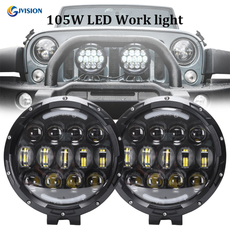 Black 105W 7 Inch LED High/Low Beam Work Light OffRoad Fog Driving Light Roof Bar Bumper for Jeep/4x4/Truck/SUV/Cabin/Boat 96w 9000lm off road led light bar spot flood beam combo for toyota bmw jeep cabin boat suv truck car atv fog lights