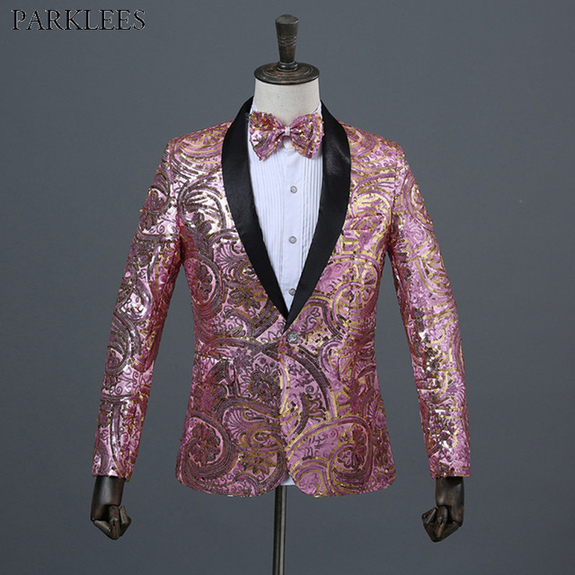 Shiny Floral Sequin Paillette Shawl Lapel One Button Suit Blazer Men Nightclub Wedding Stage Prom DJ Suit Blazer With Bow Tie