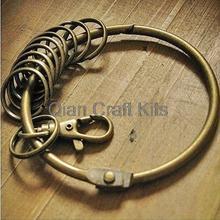 10 шт. 2.4 дюймов-3 дюймов Большой античная бронза ретро Стиль кольцо для ключей с 10 небольших Разделение Брелоки для автомобиля цепочка для ключей привести Супер большой