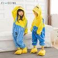 Миньоны кигуруми Дети Onesie аниме мультфильм косплэй костюм для мальчиков и девочек Комбинезон Желтый Синий Фланелевая пижама Fantasias Забавный ш - фото