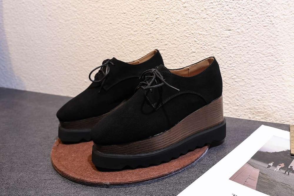 ENMAYER Primavera Mulher Sapatos de Salto Alto Do Dedo Do Pé Quadrado Calcanhar Quadrado Plataforma Mulheres Casual Shoes Lace up Namoro Sólida Rasa sapatos de senhora - 2