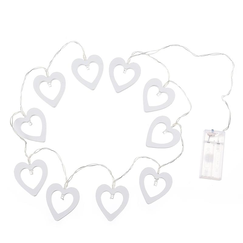 10 LED Wooden Heart Shape String Light Battery Powered Fairy Decorative Lights For Christmas Xmas Wedding Party