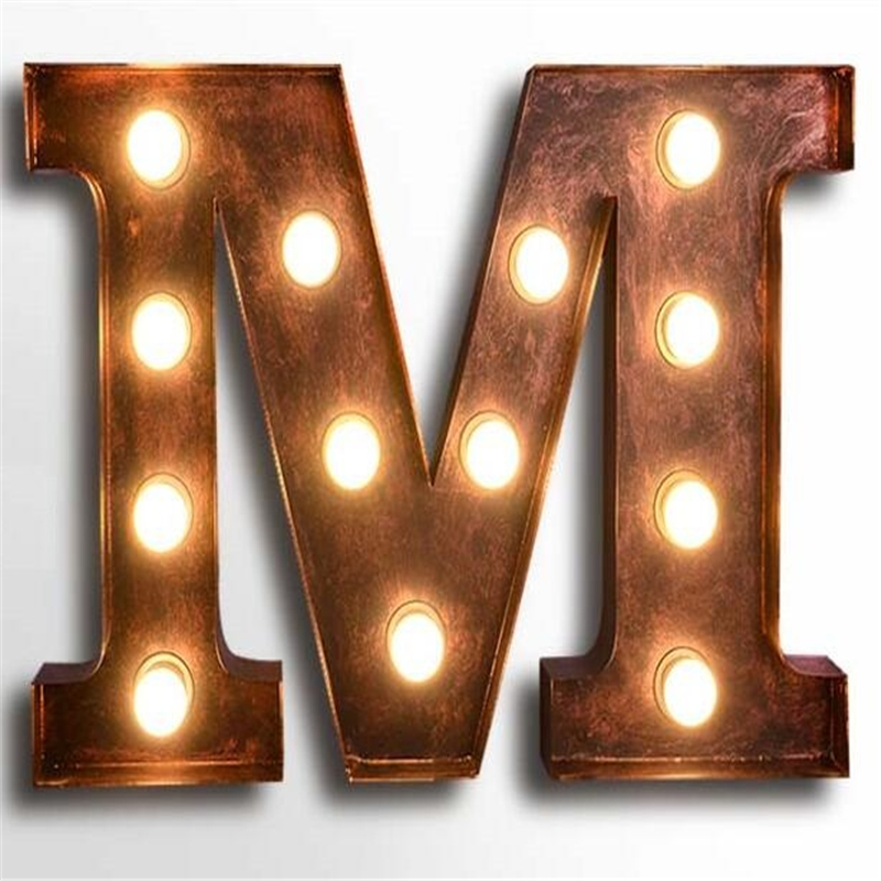 letters m wall lamps vintage art deco lights cafe bar wall lamp american industrial iron wall light billboard metal letter light