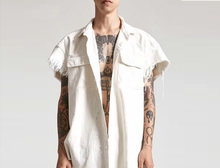 Hip Hop Raw Ripped Edge Short Sleeve Oversize Shirt Women Unisex Drop Rise Shorts Shirt Wash White Denim Jacket Men(China)