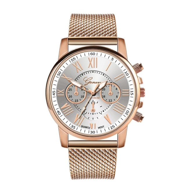 Stainless Steel Women Quartz Watch with Big Dial