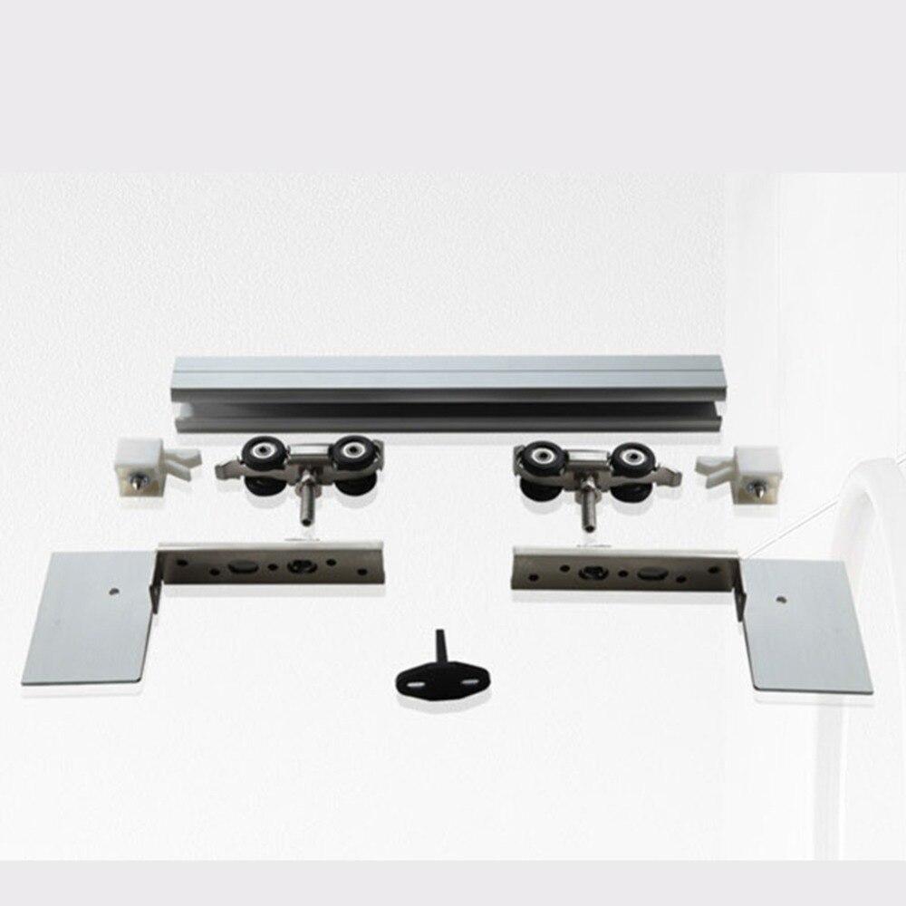 4.9/5.6/6/6.6/7.2/8.2FT matériel de porte coulissante en bois sans cadre en alliage d'aluminium - 2