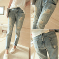 women fashion light blus holes jeans lady casual beggar Ripped jeans