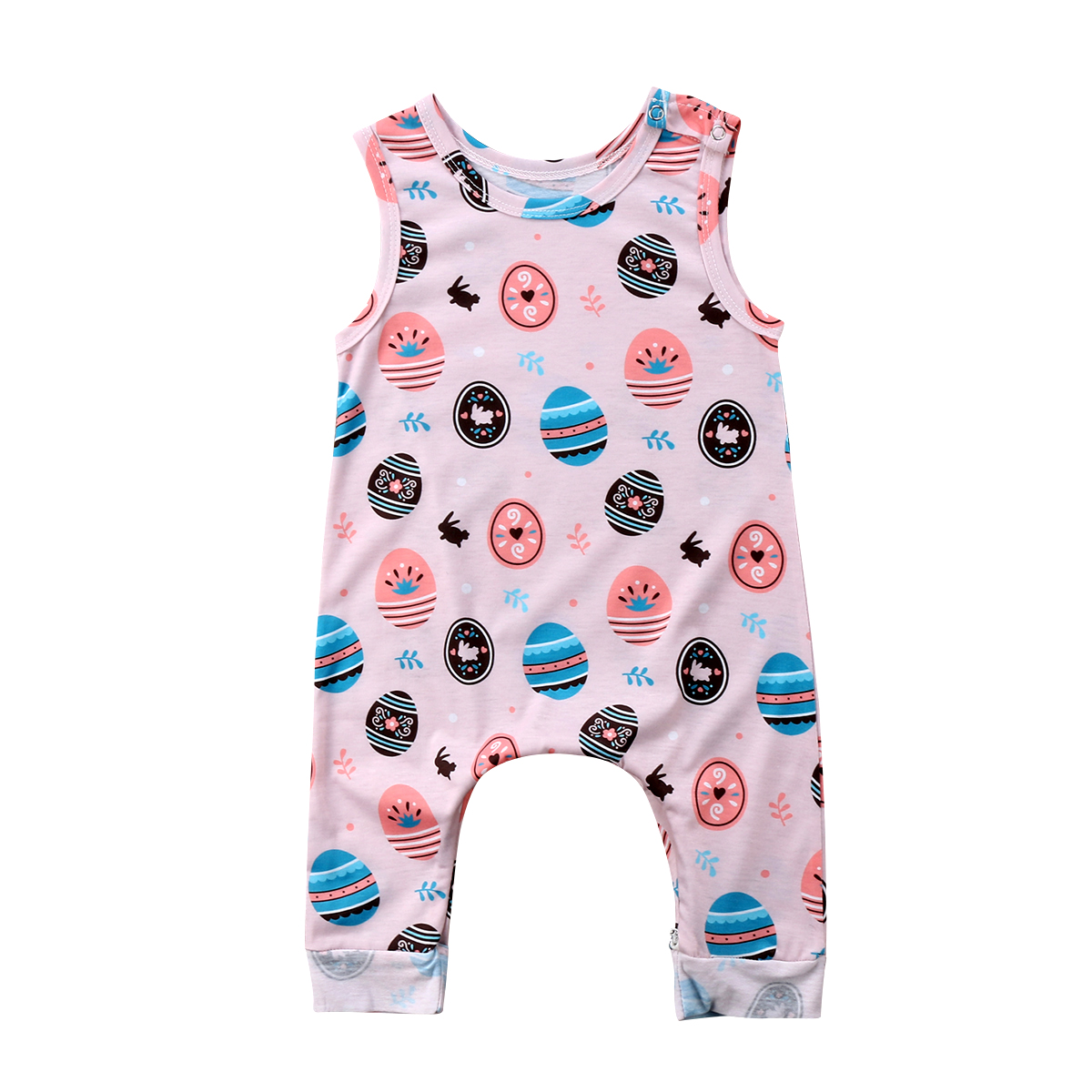 Pudcoco Newborn Baby Boy Girls Easter Romper Toddler Sleeveless Jumpsuit Sunsuit Playsuit Summer Children Clothing pudcoco newborn baby girl clothes 2017 summer sleeveless floral romper backless jumpsuit sunsuit children clothes