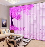 3D Curtain Fashion Customized Classic Home Decor 3D Curtain Pink Tree Blackout Shade Window Curtains For Bedroom Curtain Room