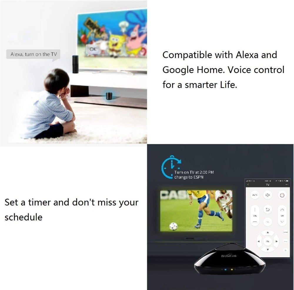2019 Broadlink RM Pro+ RM33 RM Mini3 WiFi+IR+RF Universal Intelligent Remote Controller Smart Home works with Alexa Google Home