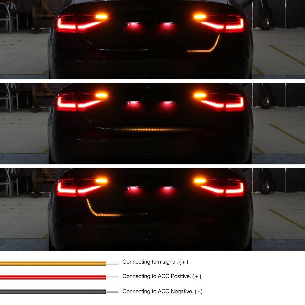 Auto-Styling Gelb Blinker Led Stamm Streifen Led Heckklappe Streifen Licht Flash Folgen LED Licht Bar Reverse auto schwanz trunk 12 v