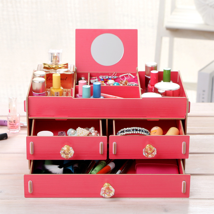 New Wood Women Jewelry Cosmetic Organizer with Mirror Earings