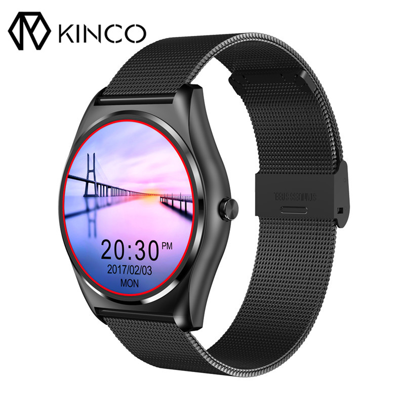 KINCO Fashion Waterproof 1.3inch HD Heart Rate Blood Pressure Monitor Pedometer Wireless Charging Smart Watch for IOS/Android kinco mt6572a 512m 4g gps ips 1 3 inch android 4 4 smart phone watch heart rate monitor steps anti lost bracelet for ios android