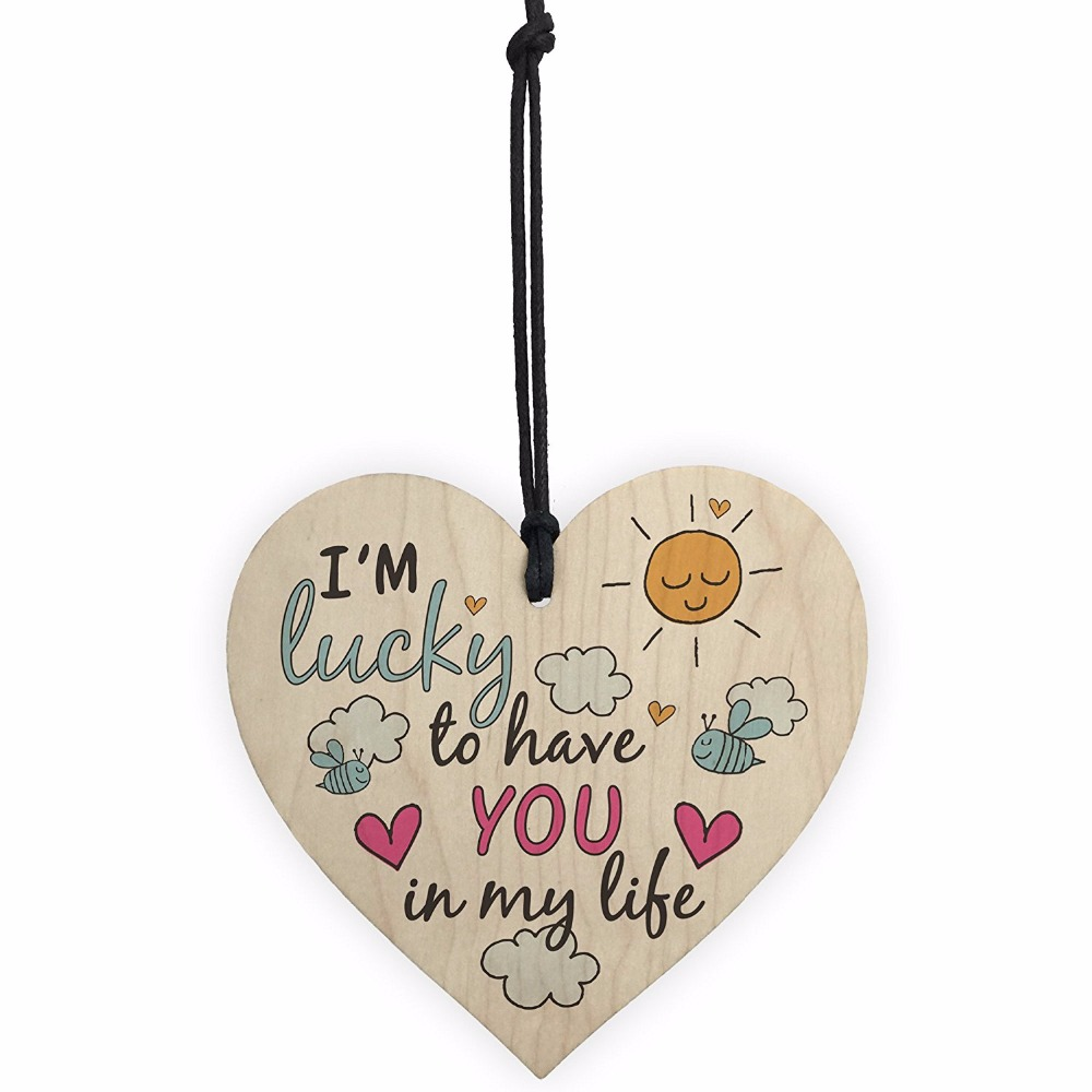 Meijiafei Lucky To Have You Friendship Sign Best Friend Love Hanging Wall Plaque Wood Heart Thank Gift